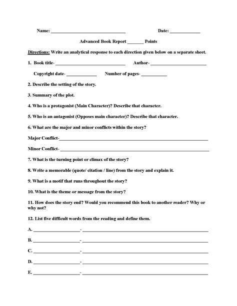 4Th Grade Book Report Template - SampleTemplatess