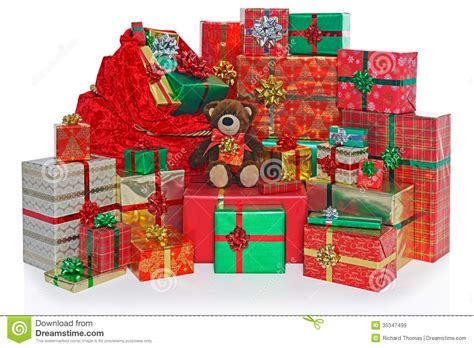 christmas present sack and gifts royalty free stock