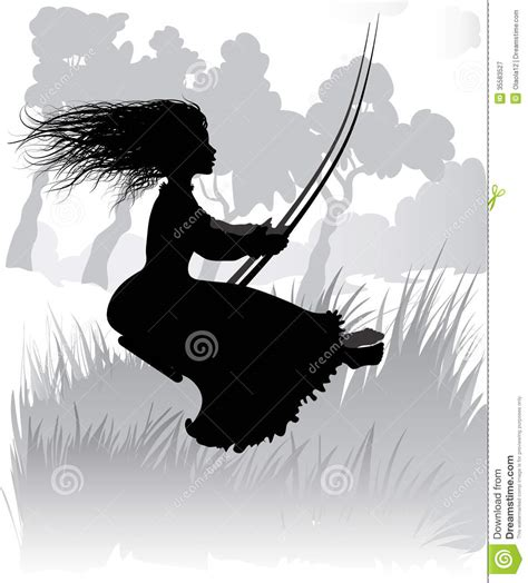 girl on swing silhouette girl on swing royalty free stock photography image 35583527