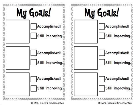 goal sheet template for students mrs ricca s kindergarten goal setting checklist freebie