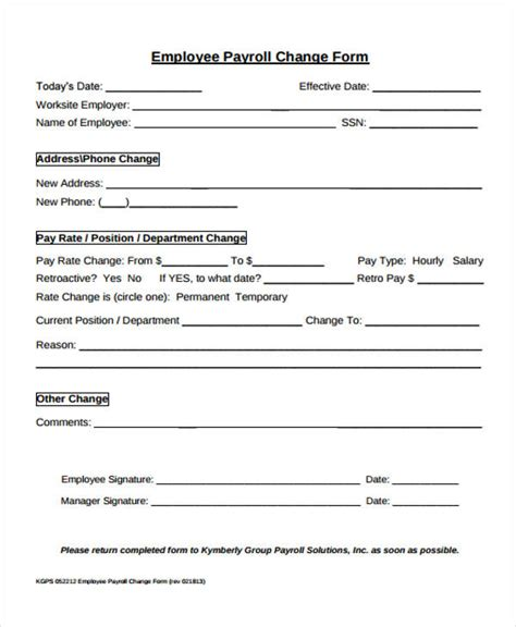 payroll change notice form template 39 free notice forms
