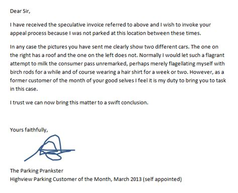 Appeal Letter Against Parking Parking Prankster September 2013