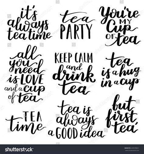 typography quotes vector quotes tea typography set calligraphy stock vector 449578651