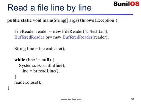 java tutorial read xml file java exle read file line by line