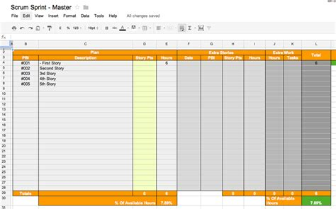 scrum spreadsheet template scrum tools part 1 the scrum board