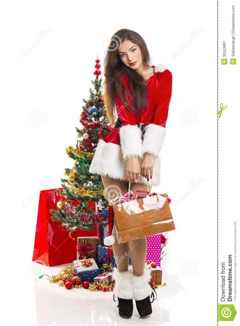 sensual woman santa helper stock image image  merry