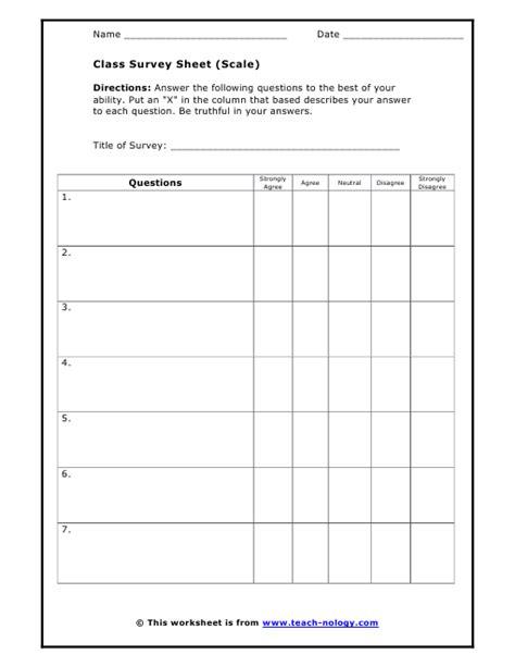 general class survey sheet scale