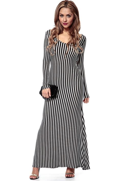 Stripi Dres Black black and white vertical striped maxi dress www pixshark