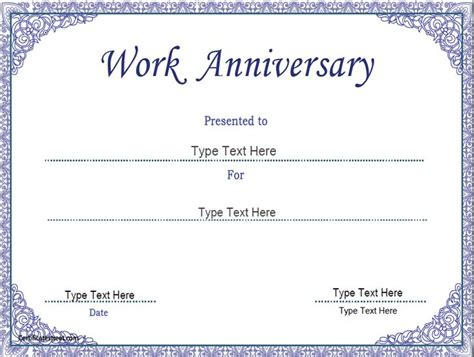 anniversary gift card templates for microsoft word business certificate work anniversary certificate