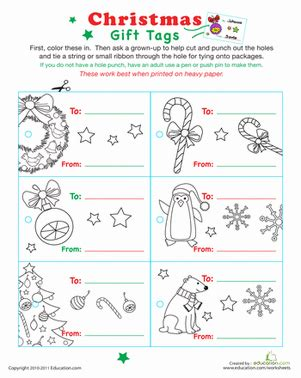 printable holiday gift tags to color color your own christmas gift tags worksheet education com