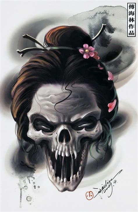 tattoo geisha skull geisha skull more skulls etc pinterest geishas