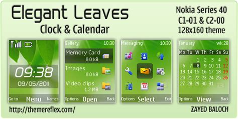 themes clock c1 elegant leaves theme for nokia c1 01 c2 00 themereflex