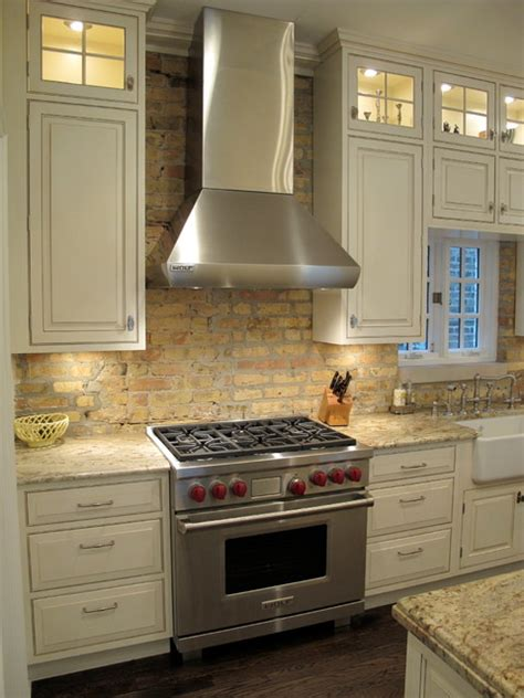brick backsplash in kitchen award winning kitchen with brick backsplash chicago