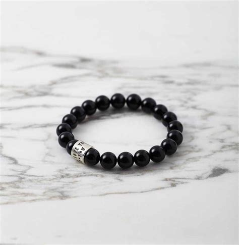 black and silver bead bracelet personalised s black agate and silver bracelet sally