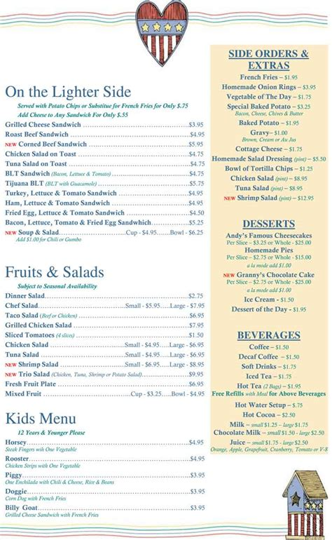 S Kitchen Menu by Corpus Christi Restaurants Andy S Country Kitchen