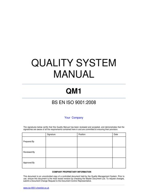 Quality Manual Template Exle Iso 9000 Quality Management System Iso Document Template