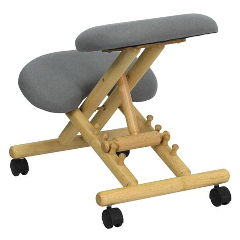 Ergonomic Kneeling Chair by Mobile Wooden Ergonomic Kneeling Chair In Gray Fabric Wl
