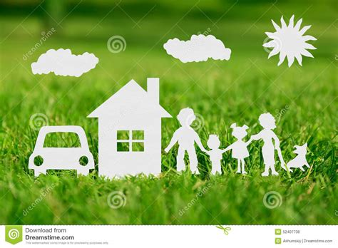 m and s house insurance paper cut of family with house and car stock photo image 52407738