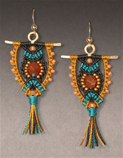 Macrame Kits - micro macrame black owl earrings kit