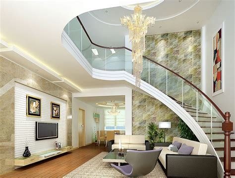 room stairs brick wall bending stairs in villa living room 3d house free 3d house pictures and wallpaper