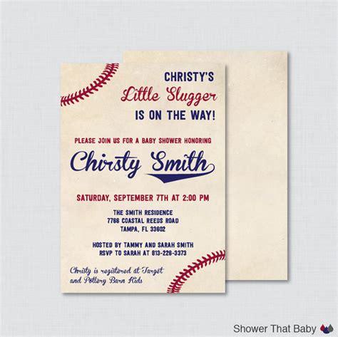 baseball themed invitation template baseball baby shower invitation printable or printed vintage