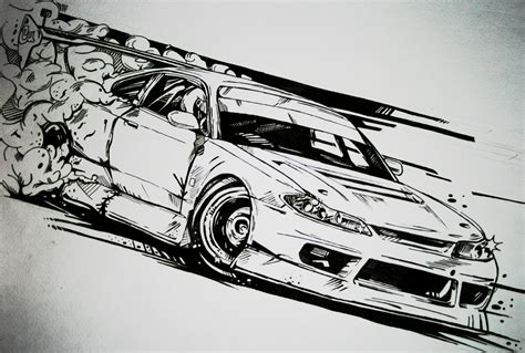 drift cars drawings nissan silvia s15 drift car illustration my illustration