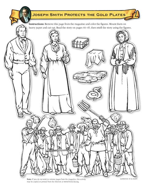 lds coloring pages golden plates joseph smith protects the gold plates friend