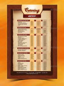 simple menu templates 20 catering menu templates free sle exle format