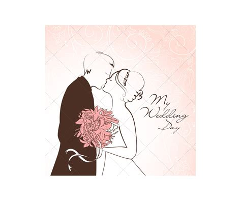 wedding card vectors with wedding couple wedding card