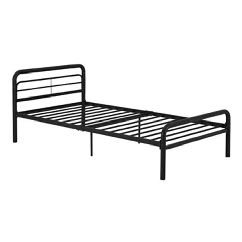 twin black metal platform bed frame with headboard and