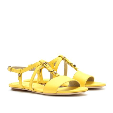 lyst balenciaga classic studded leather sandals in yellow