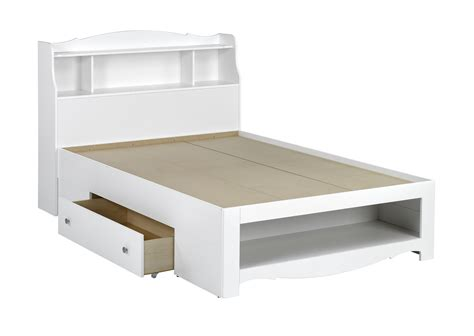 white full size platform bed frame with storage drawer and