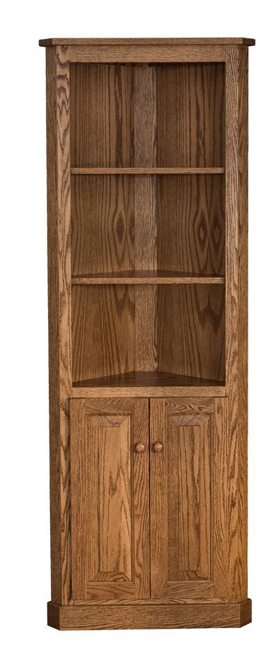 Traditional Corner Bookcase With Doors Amish Furniture Corner Bookcases With Doors