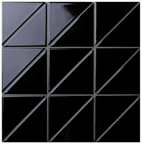 triangle pattern wall 4 quot linear glossy black triangle tile pattern for kitchen