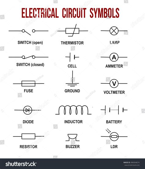 electrical circuit symbols on white background stock