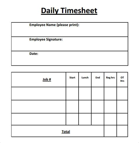 15 Sle Daily Timesheet Templates To Download Sle Templates Daily Timesheet Template Free Printable