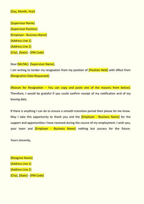 sample formal letter of resignation resume cv cover letter