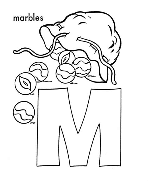 abc alphabet coloring sheets m is for marbles