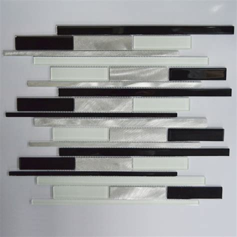 black and white tile backsplash black white and silver interlocking metal glass mosaic