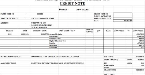 Credit Note Format For Commission Credit Note Format In Excel