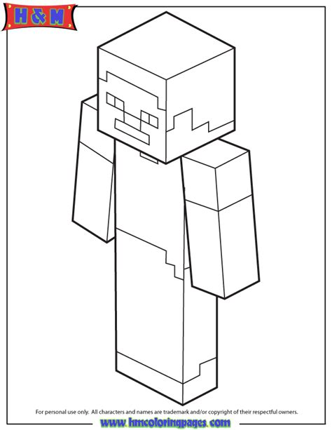 Minecraft Coloring Pages Of Steve steve on minecraft coloring pages