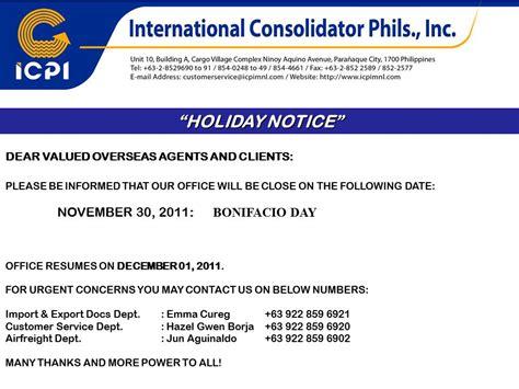 holiday notice nov   international consolidator philippines