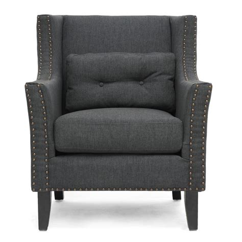 Modern Lounge Chair by Albany Gray Linen Modern Lounge Chair