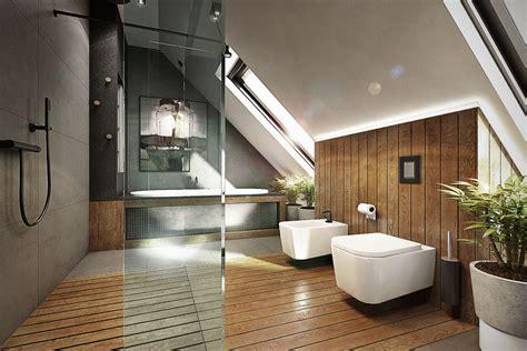 spa badezimmerideen łazienka na poddaszu wykończona drewnem architektura