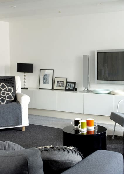 Living Room And Family Room Ideas - gray contemporary modern family room living room design