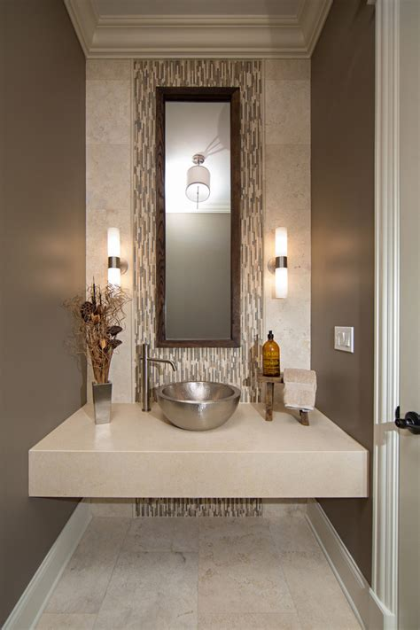 Gauntlet Gray Sherwin Williams hammered stainless steel sink powder room contemporary