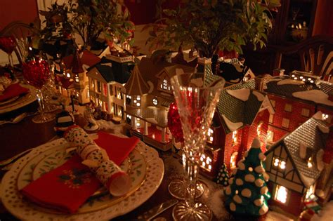 how to set a christmas table christmas table setting tablescape with dept 56 lit