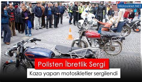 polisten ibretlik sergi kaza yapan motosikletler sergilendi