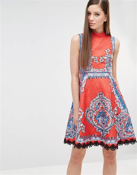 All Gamis And Dress Sale Part 8 comino couture high neck skater dress in mutli print with