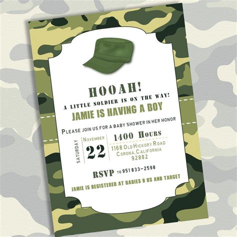 Army Baby Shower Theme by Free Printable Army Baby Shower Invitation